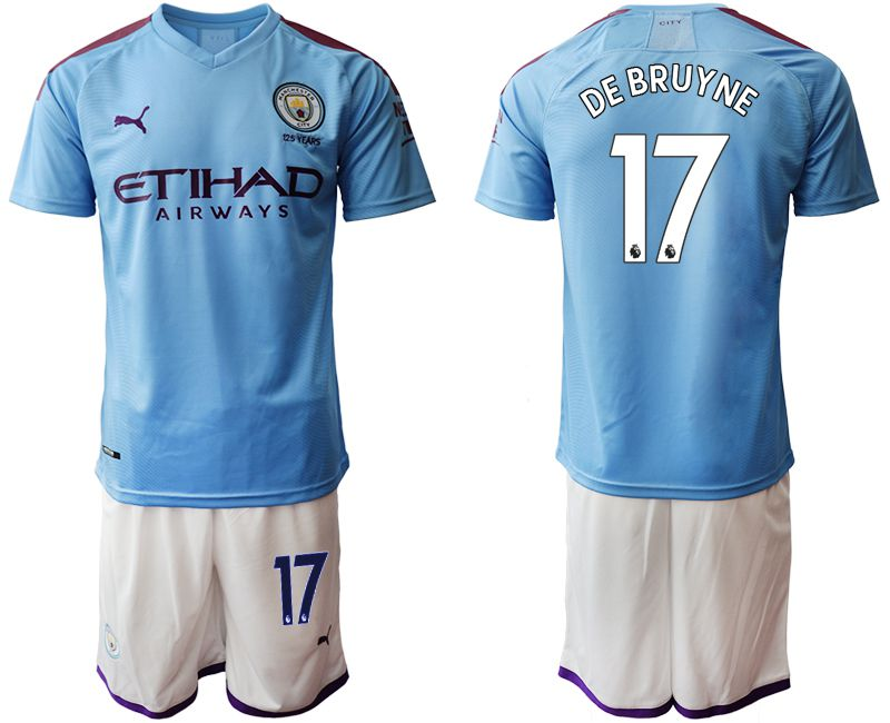 Men 2019-2020 club Manchester City home 17 blue Soccer Jerseys1