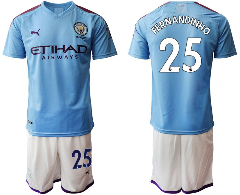 Men 2019-2020 club Manchester City home 25 blue Soccer Jerseys1