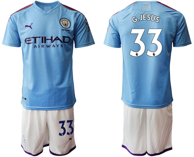 Men 2019-2020 club Manchester City home 33 blue Soccer Jerseys1