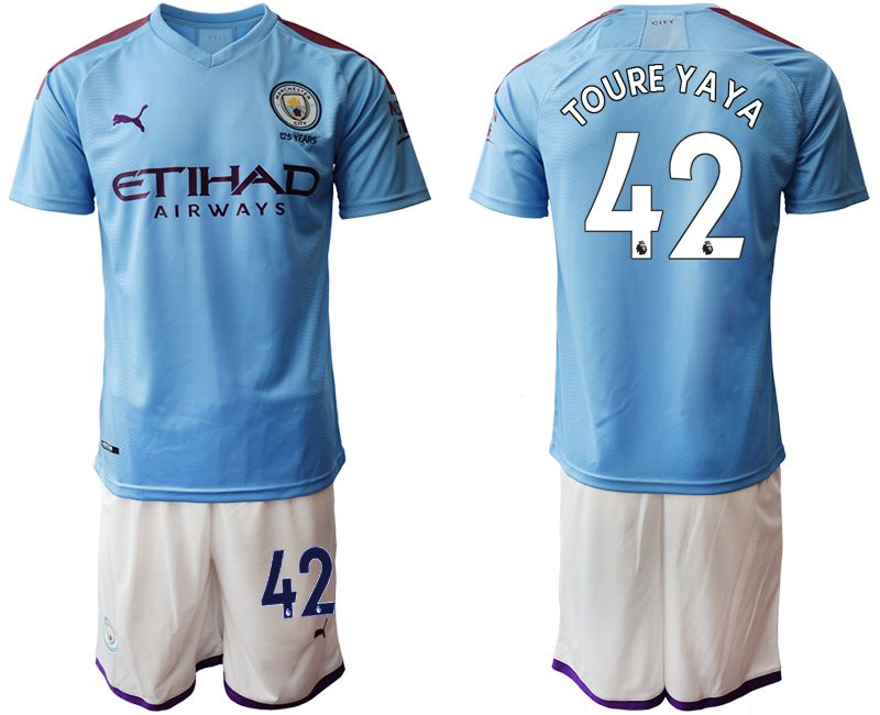 Men 2019-2020 club Manchester City home 42 blue Soccer Jerseys1
