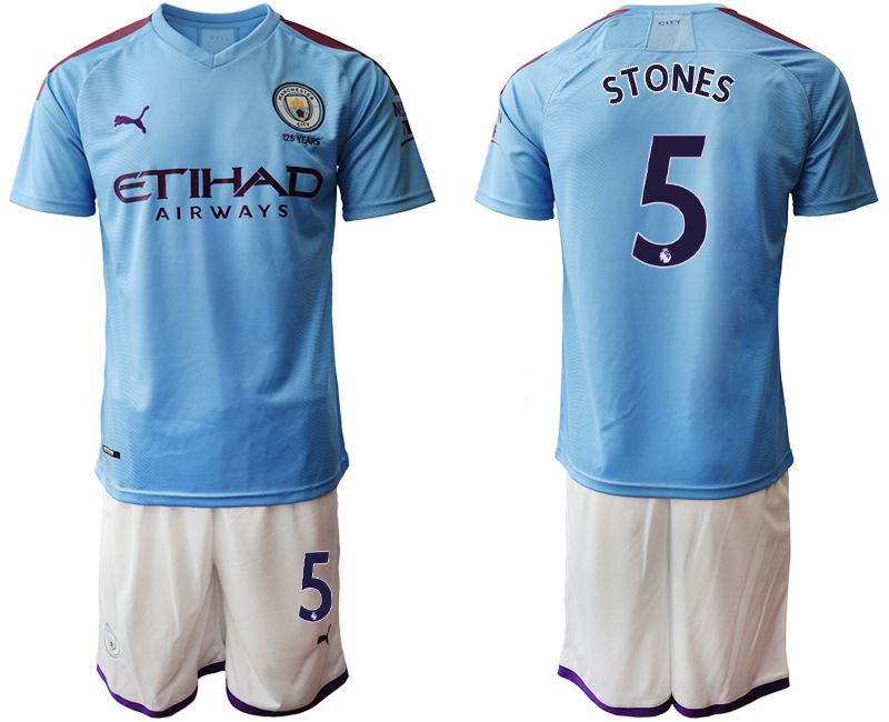 Men 2019-2020 club Manchester City home 5 blue Soccer Jerseys