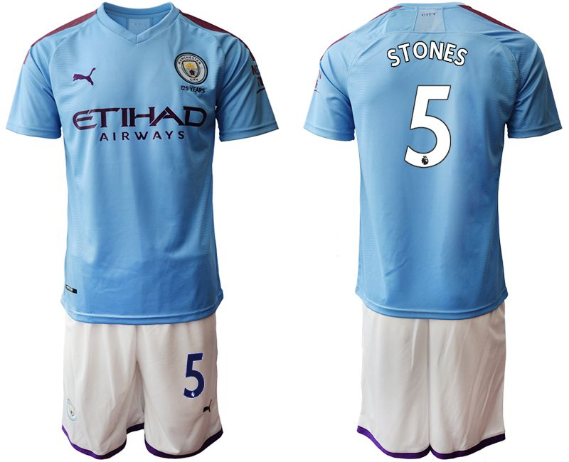 Men 2019-2020 club Manchester City home 5 blue Soccer Jerseys1