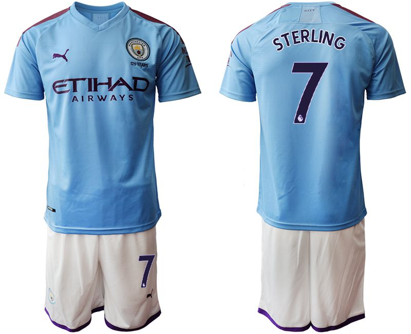 Men 2019-2020 club Manchester City home 7 blue Soccer Jerseys