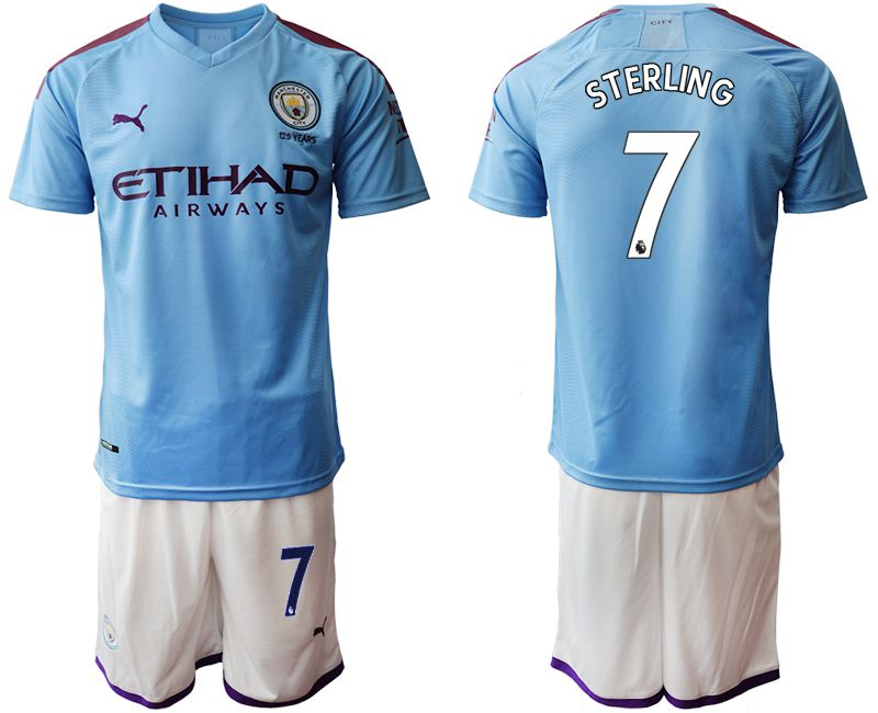 Men 2019-2020 club Manchester City home 7 blue Soccer Jerseys1