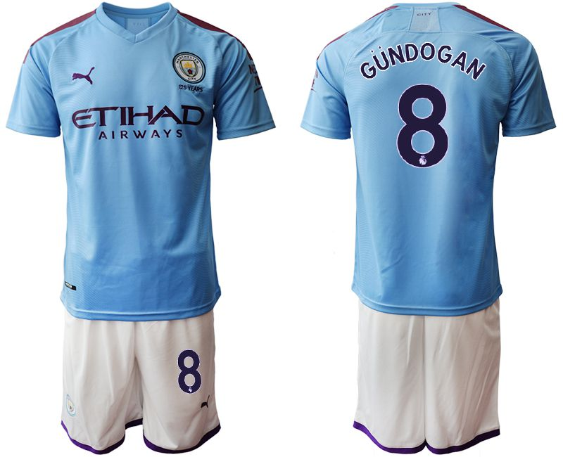 Men 2019-2020 club Manchester City home 8 blue Soccer Jerseys