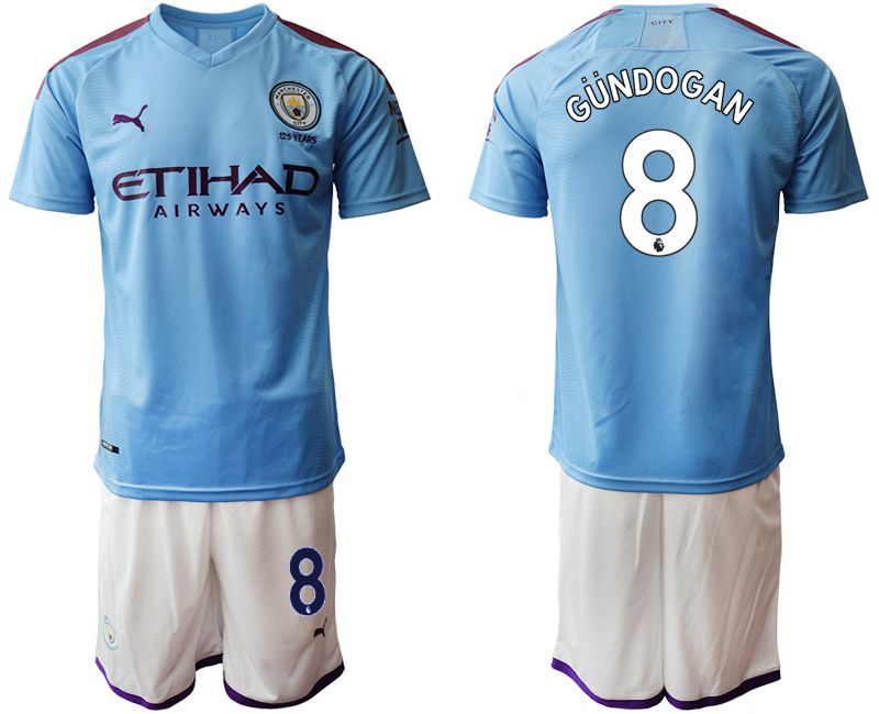 Men 2019-2020 club Manchester City home 8 blue Soccer Jerseys1