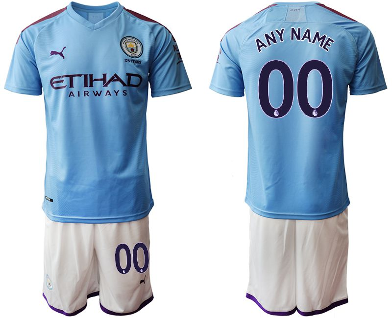 Men 2019-2020 club Manchester City home customized blue Soccer Jerseys