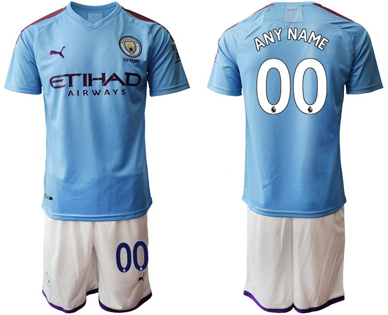 Men 2019-2020 club Manchester City home customized blue Soccer Jerseys1