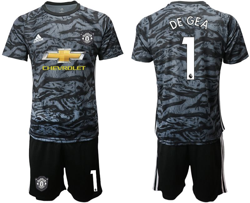 Men 2019-2020 club Manchester United black goalkeeper 1 Soccer Jerseys