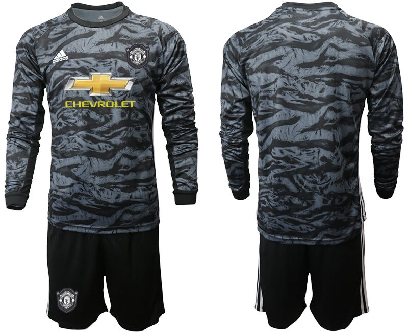 Men 2019-2020 club Manchester United black long sleeve goalkeeper Soccer Jerseys