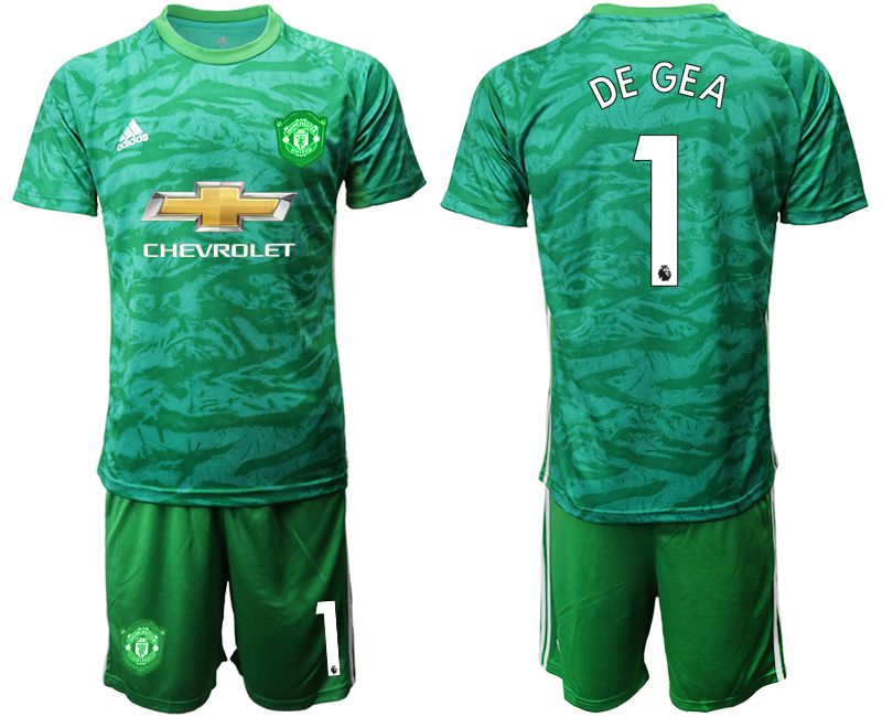 Men 2019-2020 club Manchester United green goalkeeper 1 Soccer Jerseys