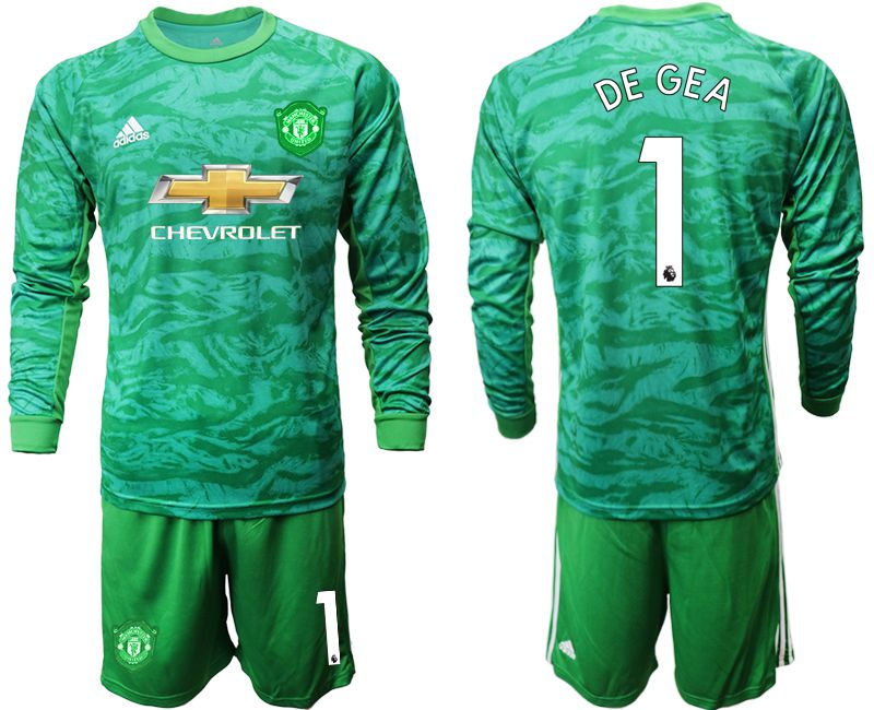 Men 2019-2020 club Manchester United green goalkeeper long sleeve 1 Soccer Jerseys