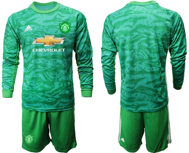 Men 2019-2020 club Manchester United green goalkeeper long sleeve Soccer Jerseys