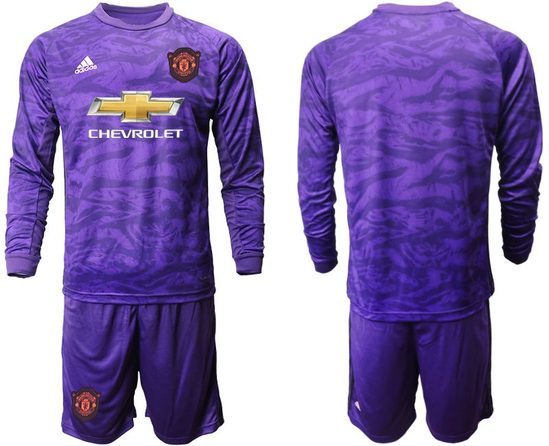 Men 2019-2020 club Manchester United purple long sleeved Goalkeeper Soccer Jerseys