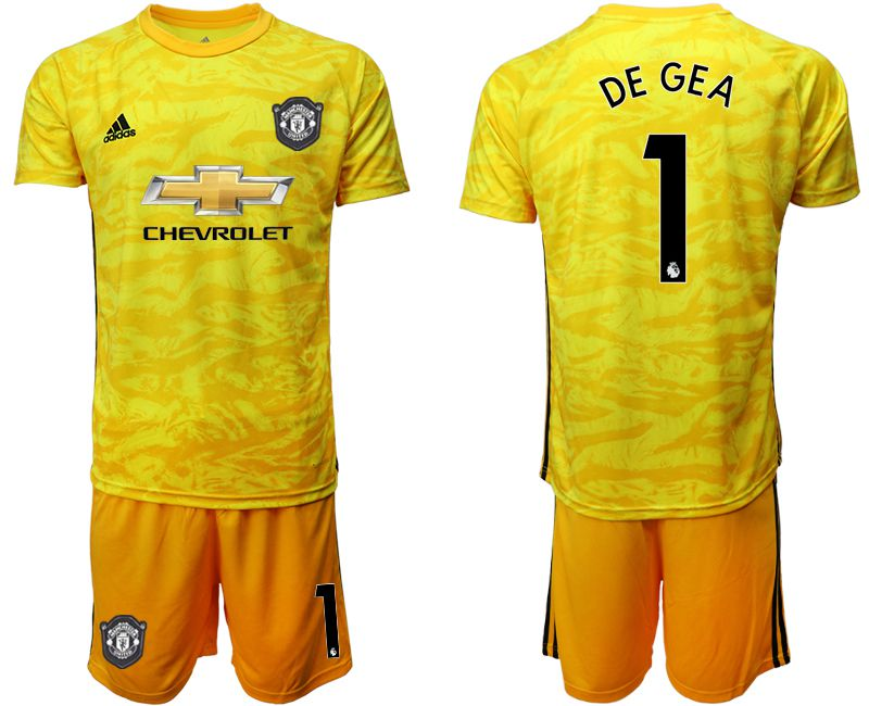 Men 2019-2020 club Manchester United yellow goalkeeper 1 Soccer Jerseys