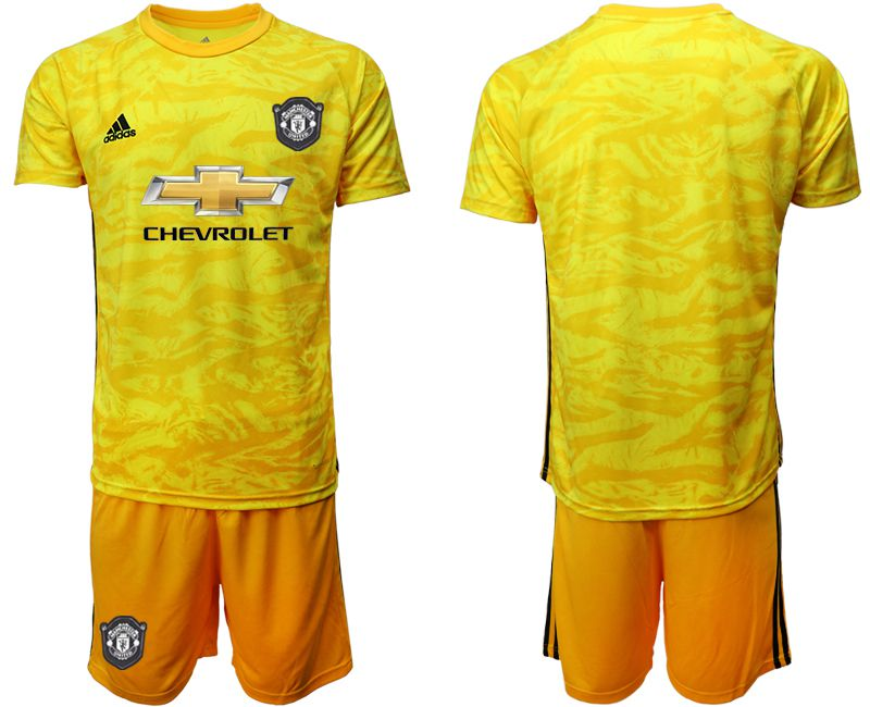 Men 2019-2020 club Manchester United yellow goalkeeper Soccer Jerseys