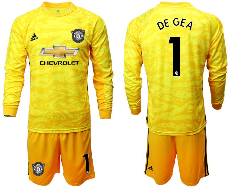 Men 2019-2020 club Manchester United yellow goalkeeper long sleeve 1 Soccer Jerseys