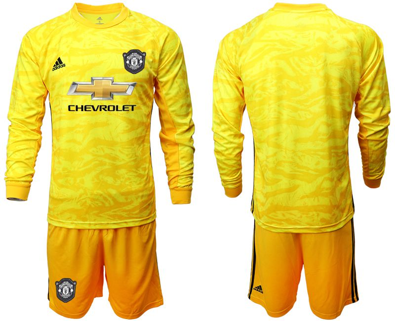 Men 2019-2020 club Manchester United yellow goalkeeper long sleeve Soccer Jerseys
