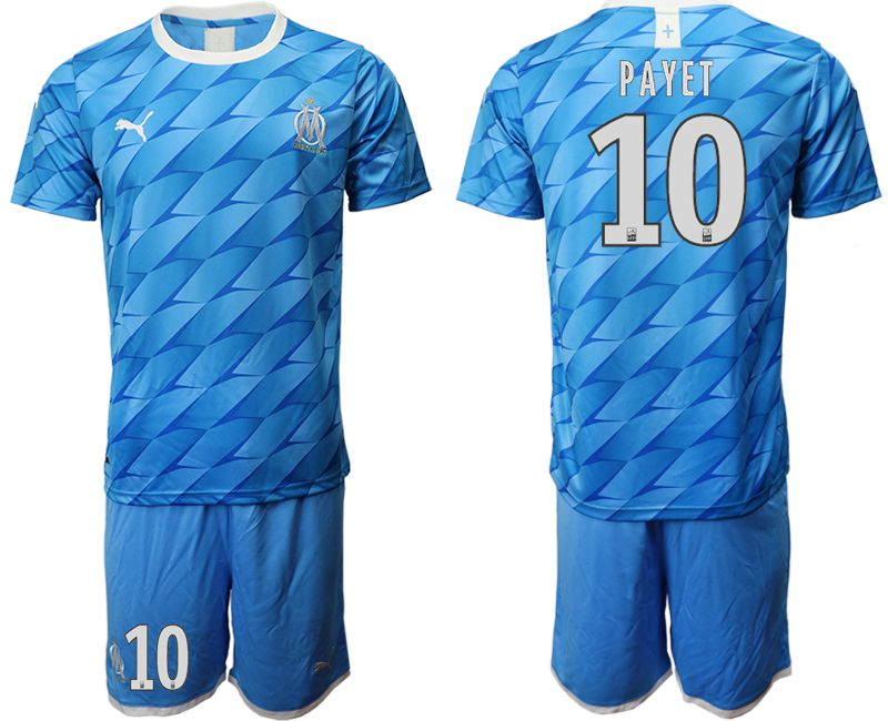 Men 2019-2020 club Olympique de Marseille away 10 blue Soccer Jerseys