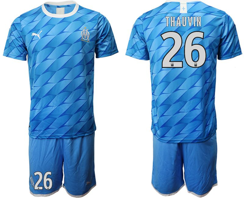 Men 2019-2020 club Olympique de Marseille away 26 blue Soccer Jerseys