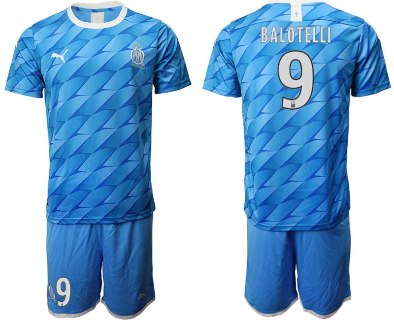 Men 2019-2020 club Olympique de Marseille away 9 blue Soccer Jerseys