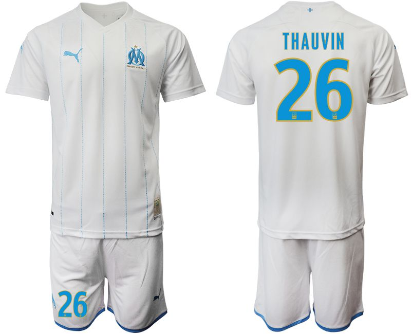 Men 2019-2020 club Olympique de Marseille home 26 white Soccer Jerseys