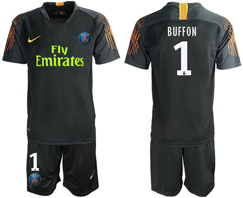 Men 2019-2020 club Paris St Germain black goalkeeper 1 Soccer Jerseys