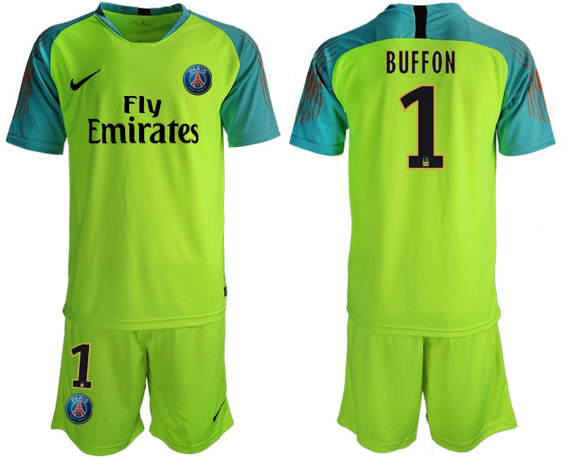 Men 2019-2020 club Paris St Germain fluorescent green goalkeeper 1 Soccer Jerseys