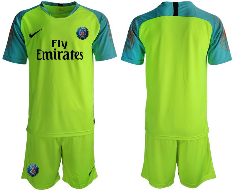 Men 2019-2020 club Paris St Germain fluorescent green goalkeeper Soccer Jerseys