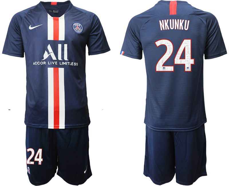 Men 2019-2020 club Paris St Germain home 24 blue Soccer Jerseys
