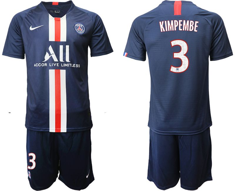 Men 2019-2020 club Paris St Germain home 3 blue Soccer Jerseys