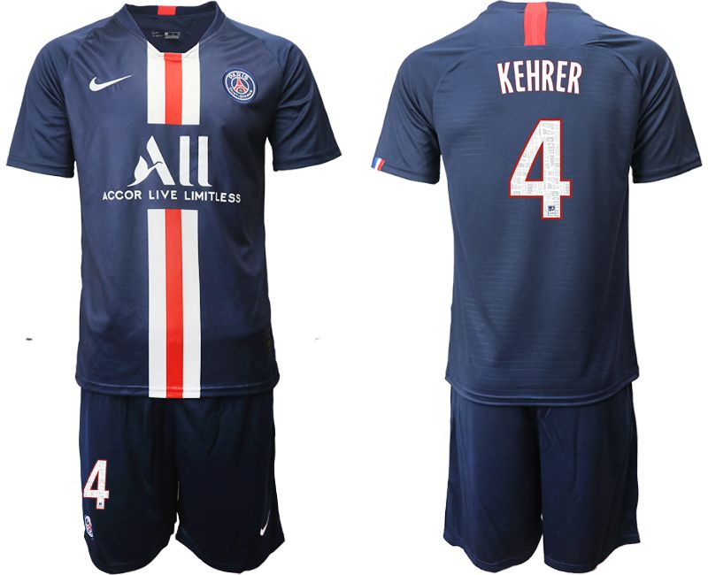 Men 2019-2020 club Paris St Germain home 4 blue Soccer Jerseys