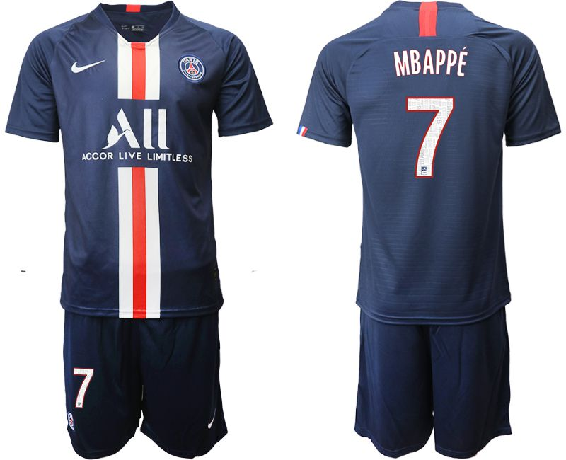 Men 2019-2020 club Paris St Germain home 7 blue Soccer Jerseys