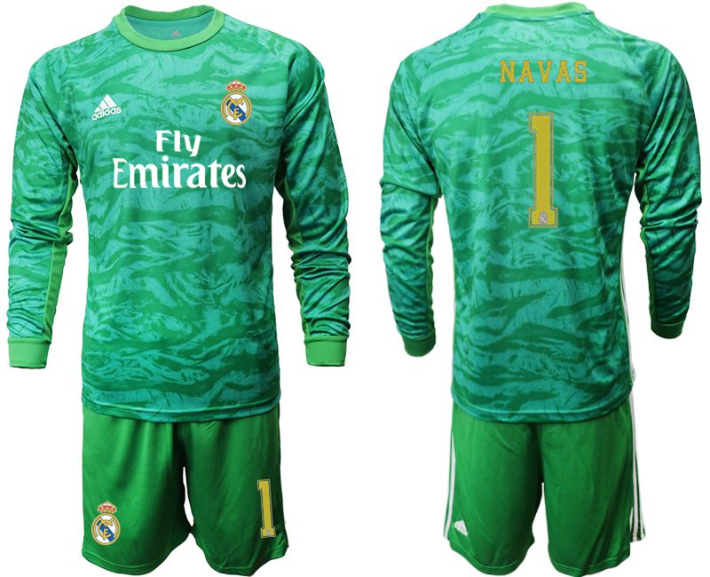 Men 2019-2020 club Real Madrid green goalkeeper long sleeve 1 Soccer Jerseys