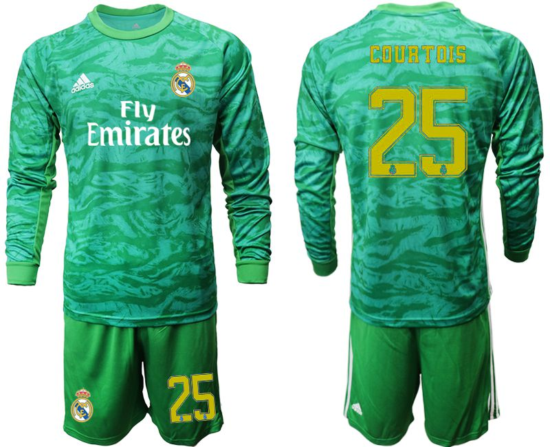 Men 2019-2020 club Real Madrid green goalkeeper long sleeve 25 Soccer Jerseys