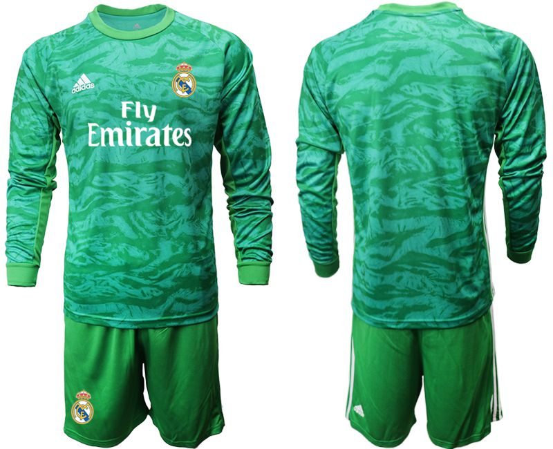 Men 2019-2020 club Real Madrid green goalkeeper long sleeve Soccer Jerseys