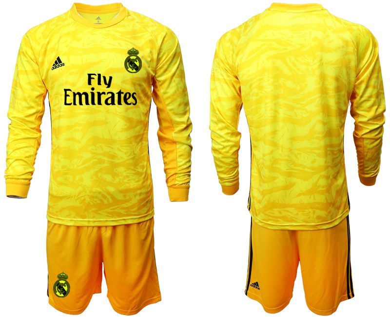 Men 2019-2020 club Real Madrid yellow goalkeeper long sleeve Soccer Jerseys