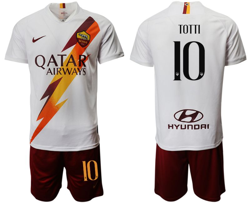 Men 2019-2020 club Rome away 10 white Soccer Jerseys