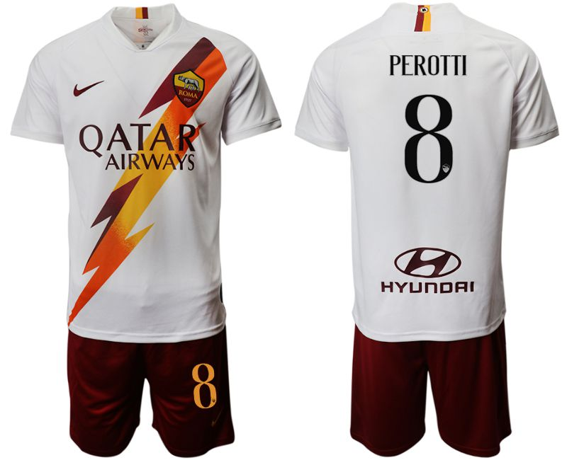 Men 2019-2020 club Rome away 8 white Soccer Jerseys