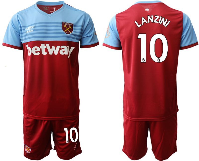 Men 2019-2020 club West Ham United home 10 red Soccer Jerseys