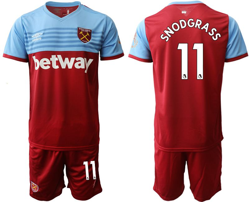 Men 2019-2020 club West Ham United home 11 red Soccer Jerseys