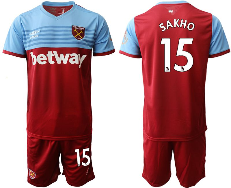 Men 2019-2020 club West Ham United home 15 red Soccer Jerseys