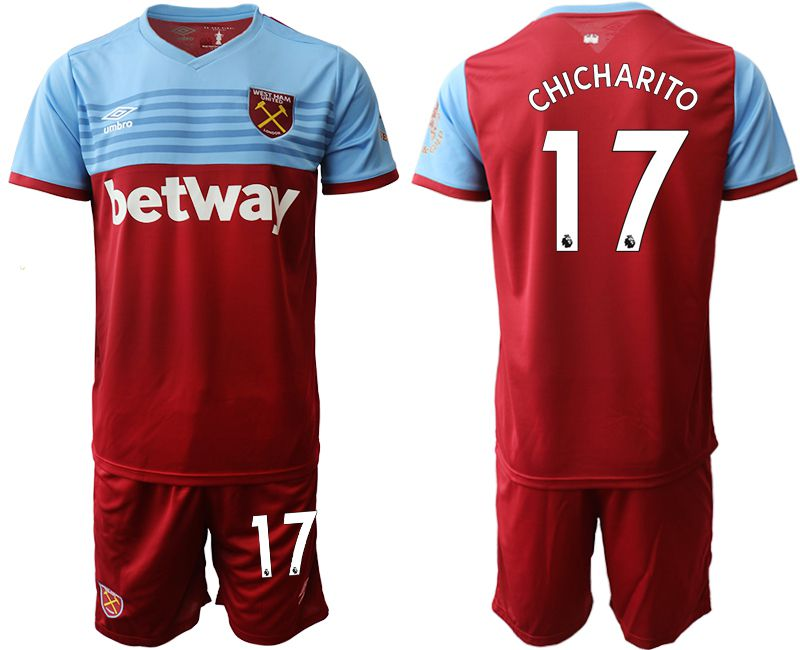 Men 2019-2020 club West Ham United home 17 red Soccer Jerseys