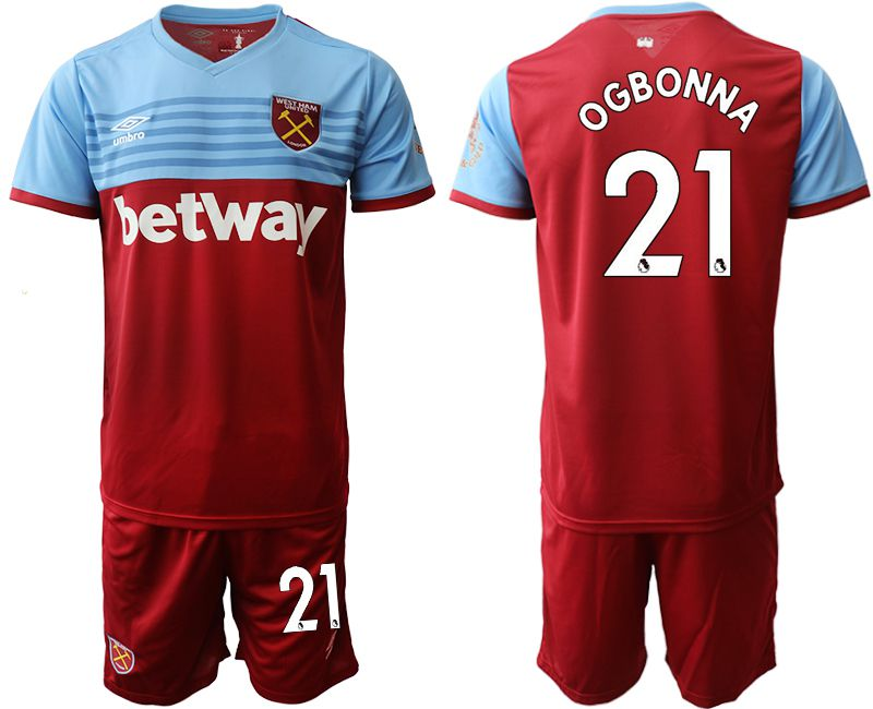Men 2019-2020 club West Ham United home 21 red Soccer Jerseys