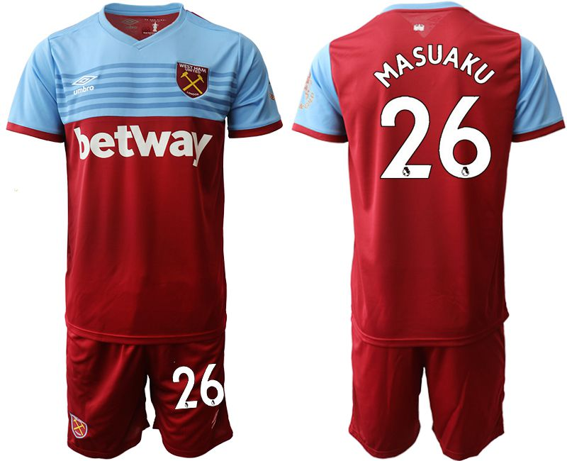 Men 2019-2020 club West Ham United home 26 red Soccer Jerseys