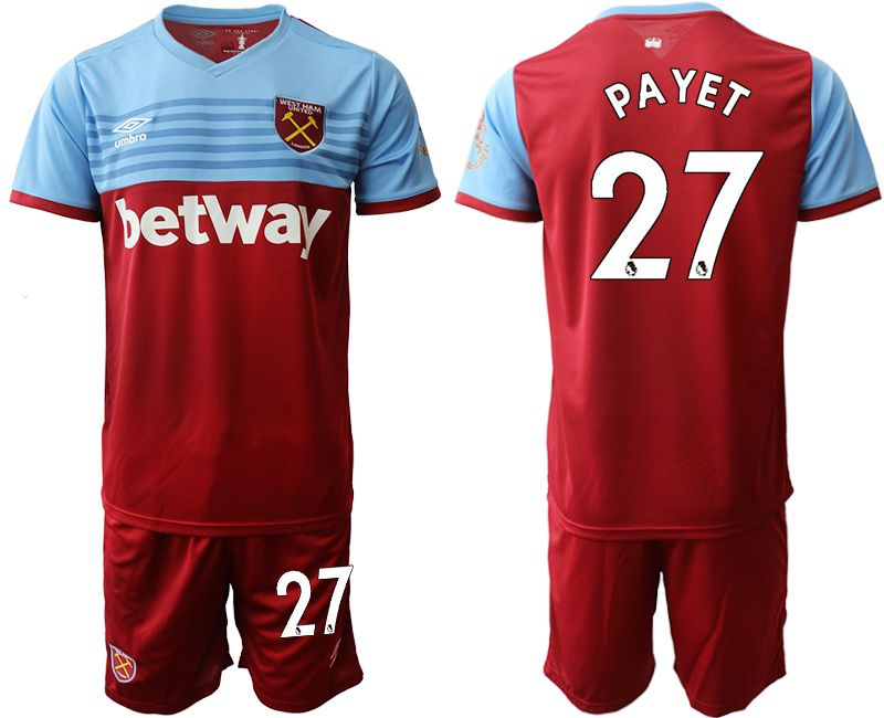 Men 2019-2020 club West Ham United home 27 red Soccer Jerseys