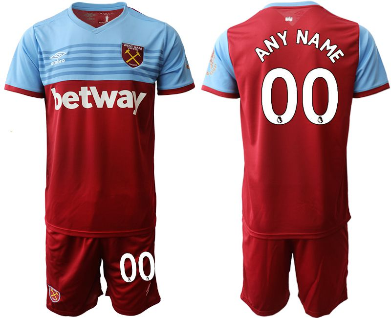 Men 2019-2020 club West Ham United home customized red Soccer Jerseys