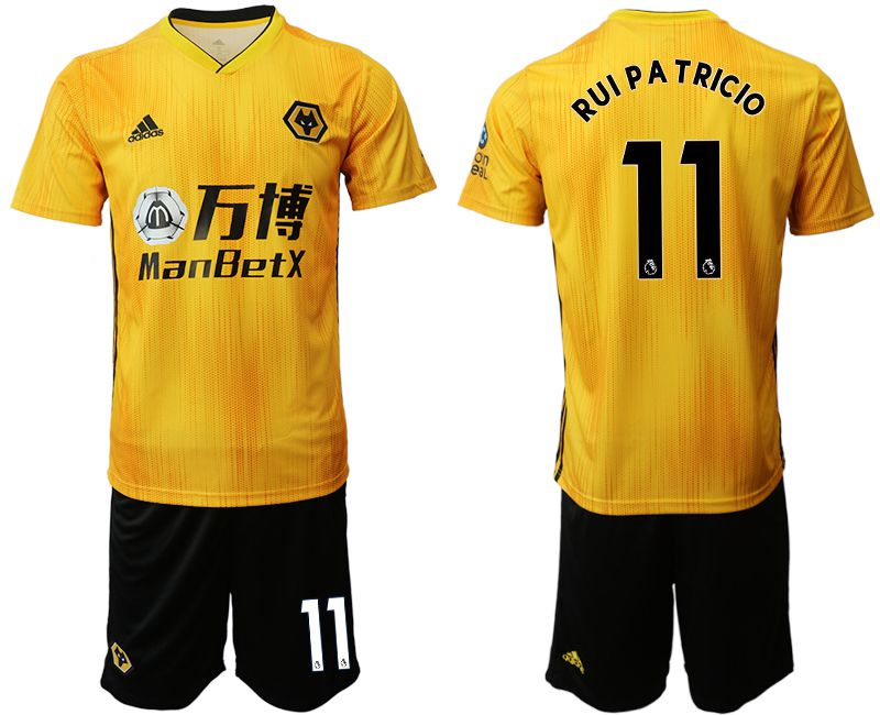 Men 2019-2020 club Wolverhampton Wanderers 11 yellow Soccer Jerseys