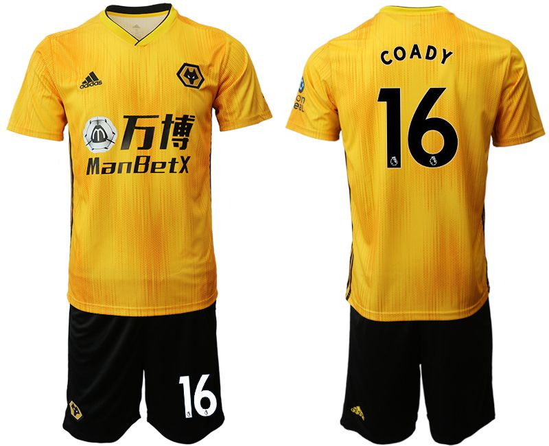 Men 2019-2020 club Wolverhampton Wanderers 16 yellow Soccer Jerseys