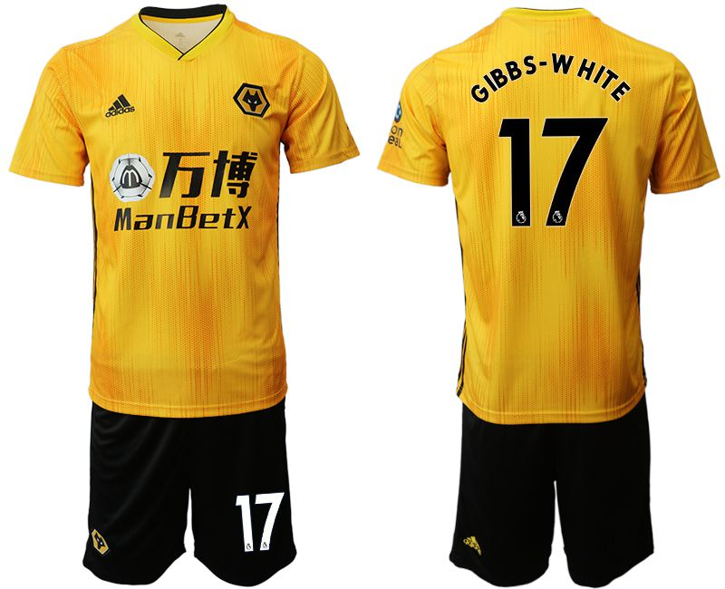 Men 2019-2020 club Wolverhampton Wanderers 17 yellow Soccer Jerseys